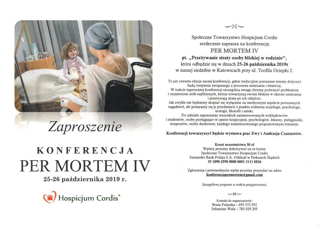 Zaproszenie na Konferencję  PER MORTEM IV